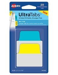 Avery 74765 Ultra Tabs Repositionable Tabs 2 x 1 3/4 Primary: Blue Yellow 20/Pack AZTY01734