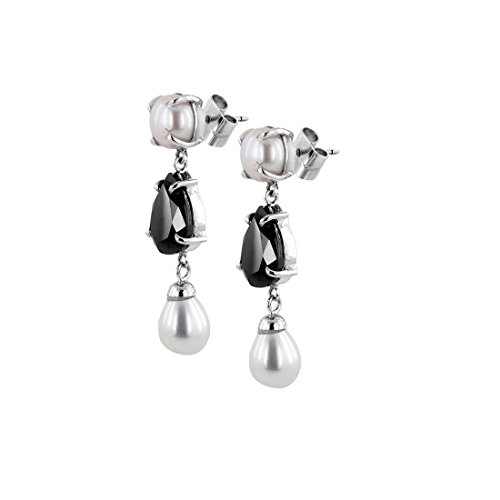 2.15 Cts Pear Black Diamond Solitaire with Pearl 925 Silver Earrings in Online Sale by Gems River