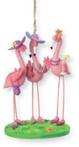 Pink Flamingo Girls BFFs Flock Together Christmas Holiday Ornament