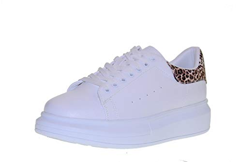 Basse Bianco Platform Gold leopardato Sneakers Donna Con amp;gold Gt631 Scarpe nwaqZRg