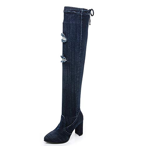 bluee hole Cowboy Stretch high Boots high Heel Over The Knee Thick Pointed Martin Boots Female Autumn Winter