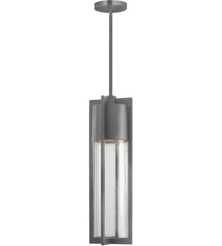 Outdoor Pendant 1 Light with Hematite Clear Seedy Solid Aluminum Medium Base 6 inch 100 - Pendant Outdoor Hematite