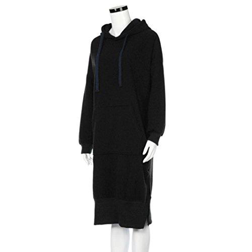Women Blouse, Neartime Women Casual Hood Sweatshirt Hooded Ladies Long Pullover Tops (L2, Black) by NEARTIME (Image #2)