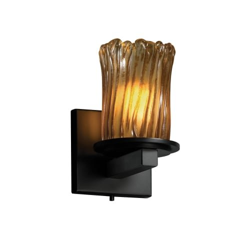 Justice Design Group Veneto Luce 1-Light Wall Sconce - Matte Black Finish with Amber Venetian Glass Shade -