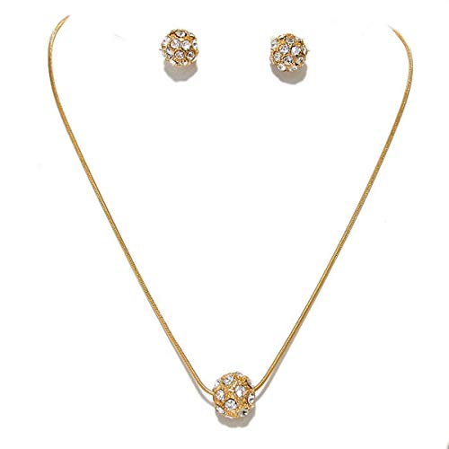 Uniklook Fashion Gold Snake Chain Crystal Ball Slider Pendant Necklace Stud Chunky Earrings Urban Style