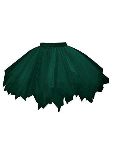 emondora Women's Adult Tutu Skirt 80's Layered Tulle Petticoat Halloween Tutu Blackish Green Size XXL-XXXL -