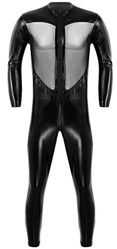 iiniim Men's One-Piece Faux Leather Mesh Wrestling Singlet Leotard Bodysuit Jumpsuit Clubwear Black #2 ()