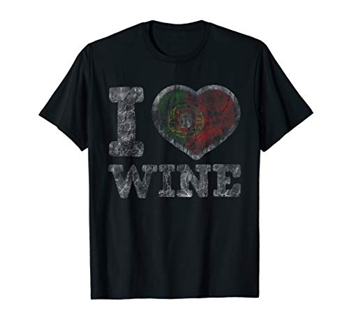 I Love Portuguese Wine T-Shirt Portugal Heart Flag