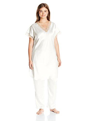 Shadowline Women's Plus-Size Charming Satin Charmeuse Pajama Set, Ivory, 3X - Charmeuse Pajamas