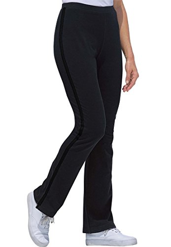 Women's Plus Size Tall Stretch Bootcut Yoga Pants With Side Stripes Black