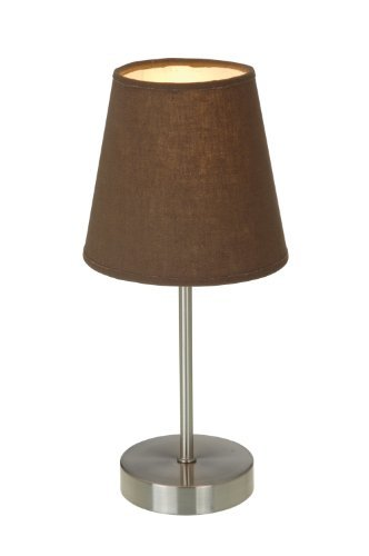 Simple Designs LT2013-BWN Sand Nickel Mini Basic Table Lamp with Fabric Shade, Brown by Simple Designs Home - Simple Designs LT2013-BWN Sand Nickel Mini Basic Table Lamp with Fabric Shade, Brown Brown - lamps, bedroom-decor, bedroom - 31orWlqInXL -