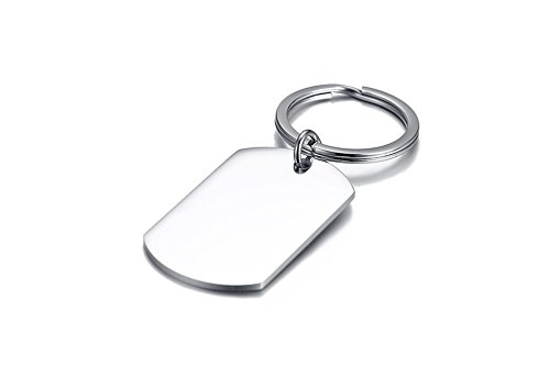 XUANPAI Free Engraving Minimalist Basic Men's Stainless Steel Rectangular Keychain,Personalized Gift (Dog Tag Style-Letter) -