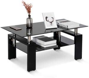 Xueliee Tavolino Da Salotto In Vetro Nero Moderno Rettangolare Con Ripiano Inferiore Nero 100 Cm Amazon It Casa E Cucina