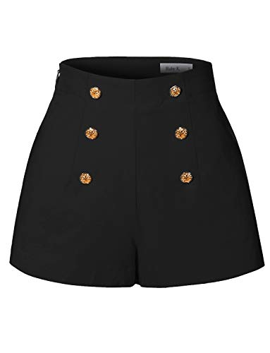 RK RUBY KARAT Womens High Waisted Front Button Retro Vintage Pin Up Sailor Shorts with Pockets ()