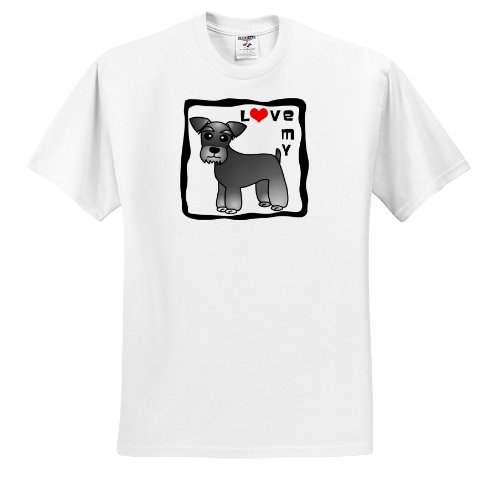 Janna Salak Designs Dogs - I Love My Miniature Schnauzer Dog - Banded Coat (Salt and Pepper) - Red Heart - T-Shirts - Adult T-Shirt XL (ts_40884_4)
