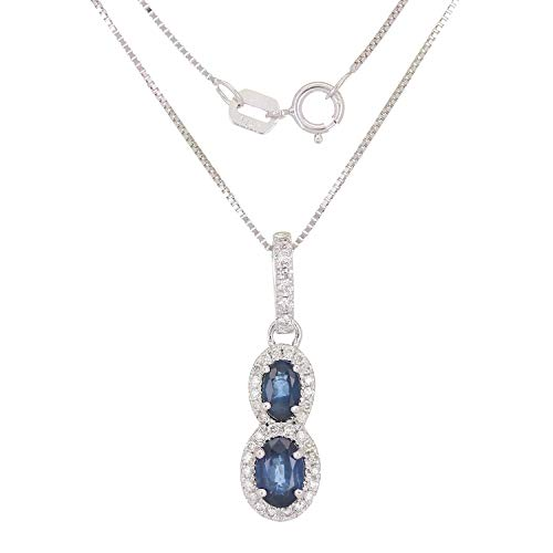 - 0.18 CTTW White Diamond and Sapphire 14 Karat White Gold Prong Setting Spring Ring Oval Pendant Necklace (H-I Color, I1-I2 Clarity)