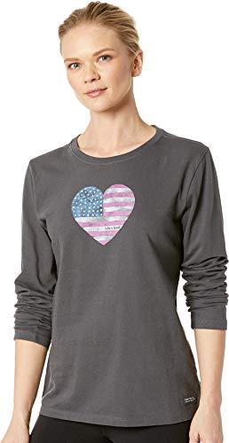 Life is Good Women's Crusher Longsleeve American Love Athletic T Shirts, Night Black, X-Small