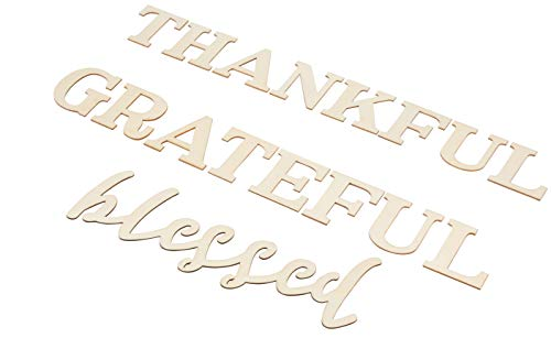 Thankful Grateful Blessed Sign - Unfinished Wood Inspirational Quotes Wall Sign, Decorative Letter Cutout for Home, Sunday School, Church, Thanksgiving Decoration, DIY Art