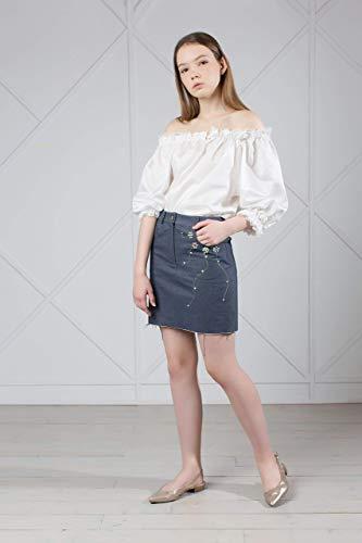 Embellished Mini Denim Skirt with Fringe ()