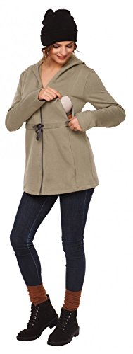 Happy Mama. Para mujer sudadera capucha de lactancia inserción extraíble. 039p Olive