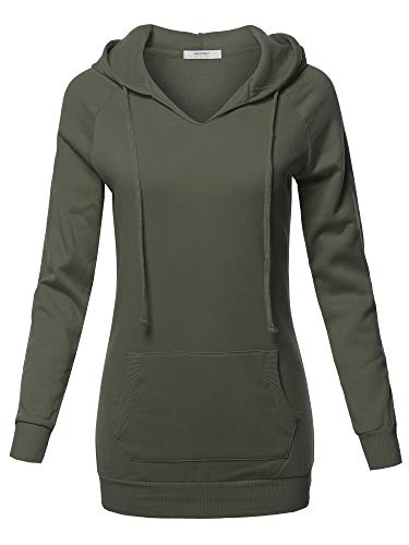 Casual Raglan Long Sleeve Kangaroo Pocket Long-Line Hoodie Dark Olive Size L by Awesome21