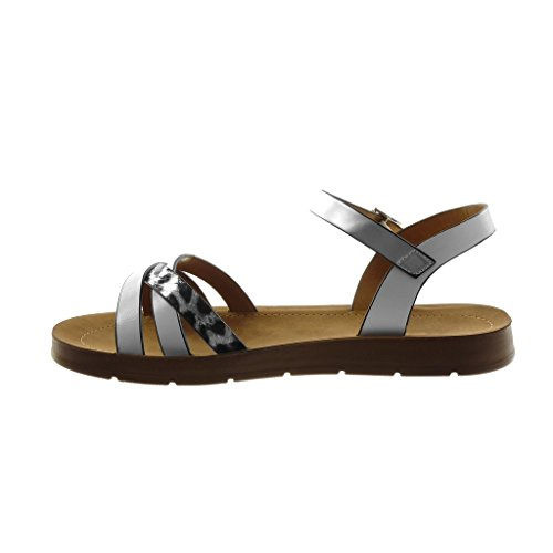 Angkorly Damen Schuhe Sandalen - Knöchelriemen - Schlangenhaut - Multi-Zaum Keilabsatz 2 cm Weiß