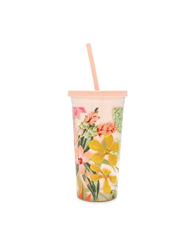 (Bando Floral Insulated Plastic Sip Sip Tumbler with Reusable Silicone Straw, 20oz (Paradiso))