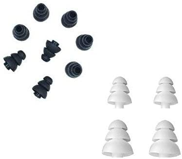 Size Noise Isolate Silicone Replacement Cushion Rubber Ear Bud Tips with 4mm Connector Hole Black//White ALXCD Earbud Tip 6 Pairs S//M//L Fit for Most in Ear Earphone 4mm-6 Pairs