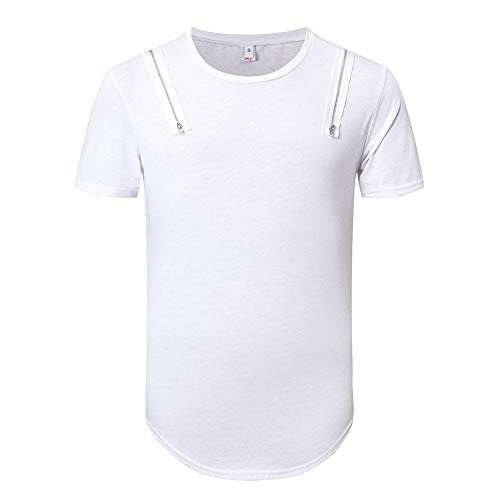 Price comparison product image ANJUNIE Men's New Trend Personal Band Short Sleeve T-Shirt Pure Color Daily Loose Top(2-White, XL)