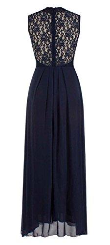 Mangas Por Respaldo Fiesta Cóctel Sin Mujer Elegante La Gasa DELEY V Noche Encaje Cuello Vestido En Largo De Sin azul OS1Yg6qw
