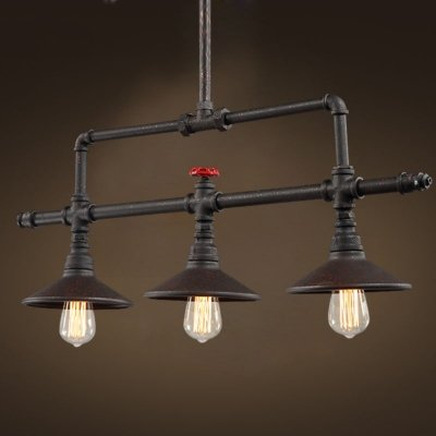 hua Age Iron 3 Light Linear Chandelier in Pipe Style