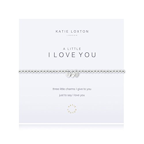 (Katie Loxton A Little I Love You Triple Heart Silver Women's Stretch Adjustable Charm Bangle Bracelet)