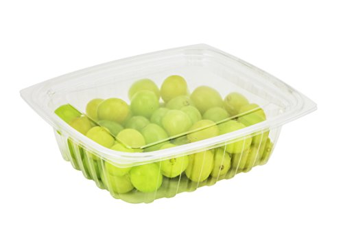 - Dart C24DER, 24-Ounce ClearPac Clear Rectangular Plastic Container With Clear Flat Lid, Take Out Deli Fruit Food Disposable Containers (50)