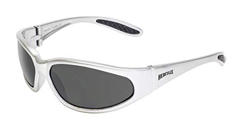 Global Vision Eyewear Hercules Series Sunglasses, Smoke Lens, Gloss Silver Frame