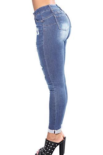 Yulinge Le Tasca I Con Chiarocolor Donne Denim Blu Destoryed Lunghi Jeans Strappati Pantaloni qZdAUqOnr