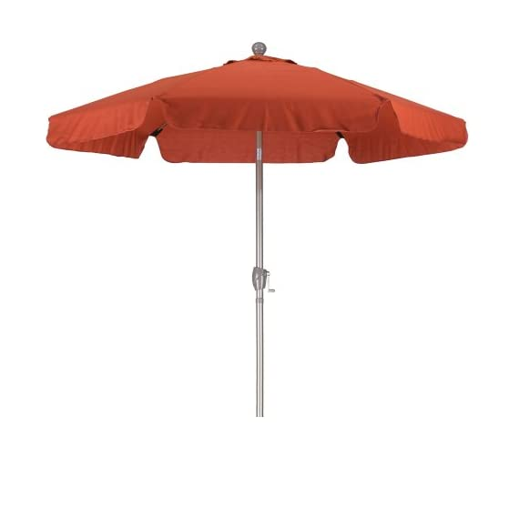 California Umbrella 7.5' Round Aluminum Pole Fiberglass Rib Umbrella, Crank Open, Push Button 3-Way Tilt, Champagne Pole, Brick Red - Overall dimensions: 92-inch h by 90-inch l by 90-inch w Easy crank open function with push button 3-way tilt All Aluminum Frame with Fiberglass Ribs for added Durability - shades-parasols, patio-furniture, patio - 31orlThshIL. SS570  -