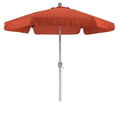 31orlThshIL - California Umbrella 7.5' Round Aluminum Pole Fiberglass Rib Umbrella, Crank Open, Push Button 3-Way Tilt, Champagne Pole, Brick Red