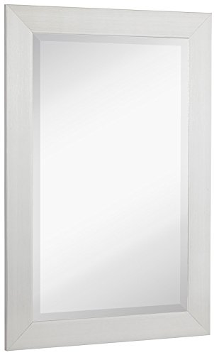 NEW Silver Modern Metallic Look Rectangle Wall Mirror | Brushed Metal Appearance | Contemporary Simple Design Beveled Glass Vanity, Bedroom, or Bathroom | Hanging Horizontal or Vertical | Made in - Framed Mirrors Silver