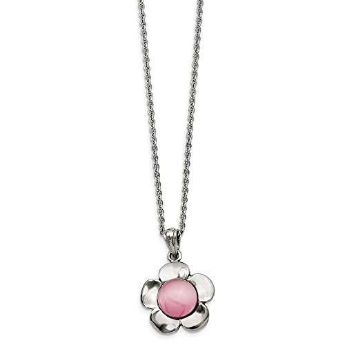 (ICE CARATS Stainless Steel Flower Pink Cats Eye Pendant Chain Necklace Charm Floral Fashion Jewelry Gifts for Women for Her)