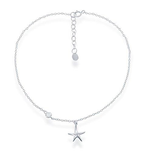 Bracelet Sterling Belle Silver (Beaux Bijoux 925 Sterling Silver Italian Zirconia Starfish Cable 9+1