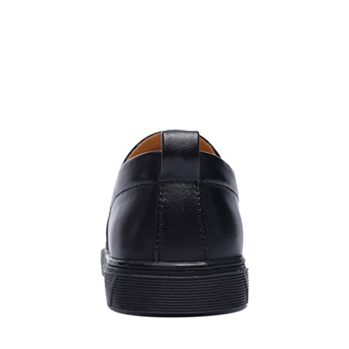 Minitoo Boys Mens Cap-Toe Slip-On Rubber Sole Casual Loafers Black