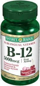 Natures Bounty Vitamin B12 5000 Mcg Sublingual Tablets - 30 Ea (Pack of 5) (Natures Bounty 30 Tablets)
