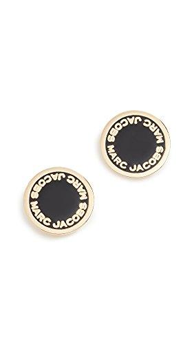 Marc Jacobs Women's Enamel Logo Disc Stud Earrings, Black/Oro, One Size