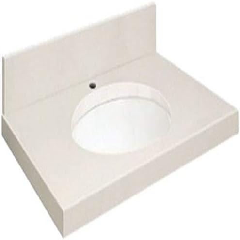 Samson Q3122-3A-A-W-1 Quartz Vanity Top 31×22 with Single Undermount White Bowl 1-Hole Eased Edge Milan White