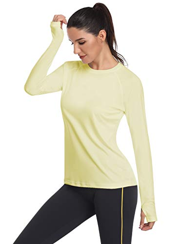 HISKYWIN Women's UPF 50+ Sun Protection Long Sleeve Outdoor T-Shirt Athletic Top Rashguards Light Yellow-S