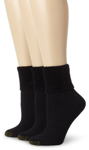 Polyester Terry Cloth (Gold Toe Women's 3 Pack Ultratec Terry Cuff Socks, Black, 9-11)