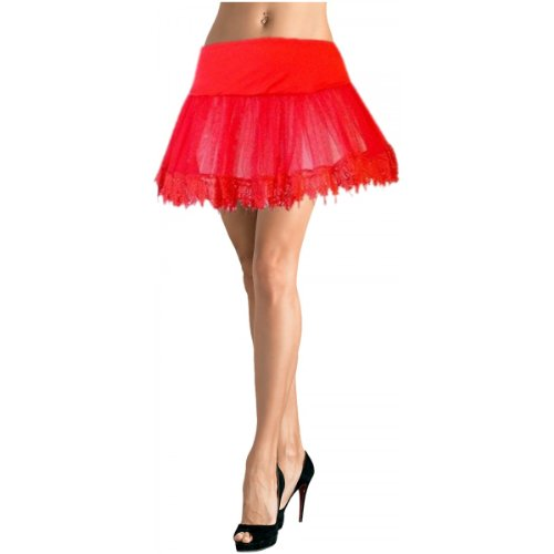 Red Teardrop Lace Petticoat (Leg Avenue Women's Petticoat With Special Lace Trim, Red, One Size)