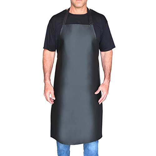 Intelligent Brands Vinyl Waterproof Apron - with New Ultimate Comfort Microsuede Adjustable Neck Strap