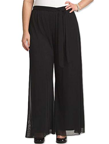 Red Dot Boutique 8006 - Plus Size Elastic Waistband Wide Legged Palazzo Pants (Size 1X - 4X) (1X, Black)