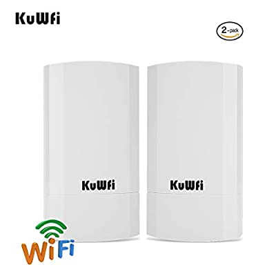 KuWFi 2-Pack 300Mbps Wireless outdoor CPE Kit,Indoor&Outdoor Point-to-Point wireless Bridge/CPE Supports 2KM transmission distance solution PTP, PTMP (Pre-program WDS) Wireless Access Point/Bridge